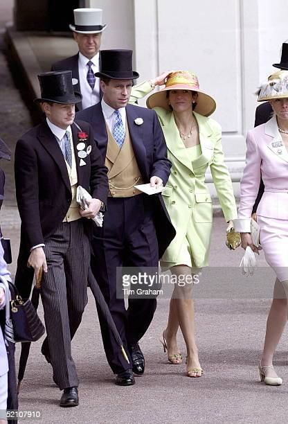 Royal Ascot Race Meeting Thursday Ladies Day Prince Andrew Duke Of York and Ghislaine Maxwell At Ascot With them are Edward and Caroline Stanley the...