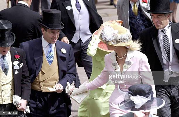 Royal Ascot Race Meeting Thursday - Ladies Day. Prince Andrew, The Duke Of York and Jeffrey Epstein At Ascot. With them are Edward and Caroline...