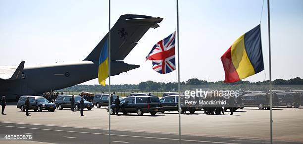 Royal Australian Air Force C17 aircraft lands with the bodies from the crash of MH17 on July 23 2014 in Eindhoven Netherlands Today the people of the...