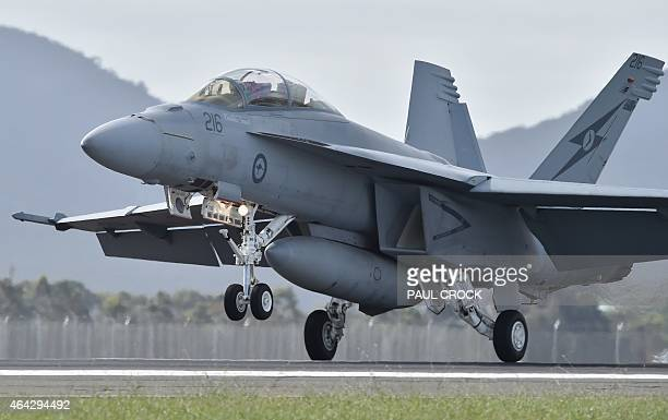 A Royal Australian Air Force F18 Hornet lands during the Australian International Airshow at the Avalon Airfield near Lara southwest of Melbourne on...