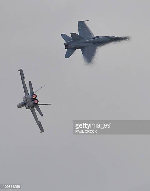 Royal Australian Air Force F18s jet aircraft perform on the opening day of the Australian International Airshow and Aerospace and Defence Expo in...