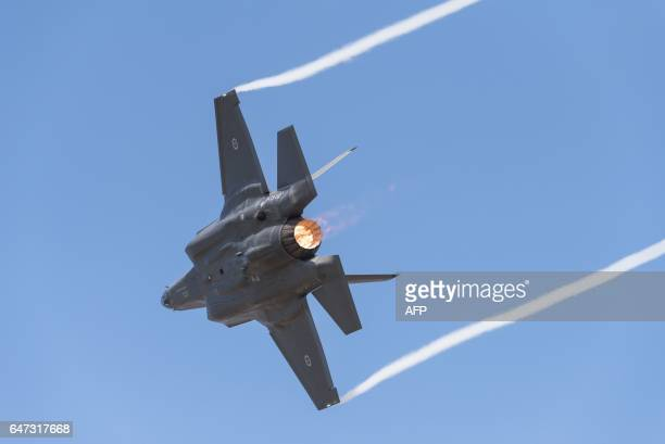 A Royal Australian Air Force F35 aircraft performs during the Australian International Airshow at Avalon airport on March 3 2017 The annual event...