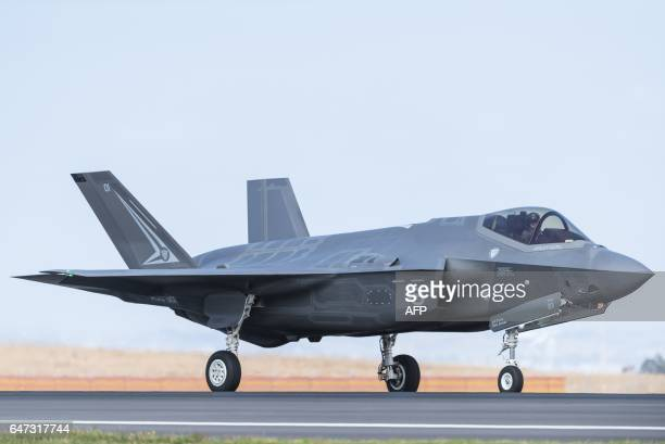A Royal Australian Air Force F35 aircraft taxis during the Australian International Airshow at Avalon airport on March 3 2017 The annual event sees...
