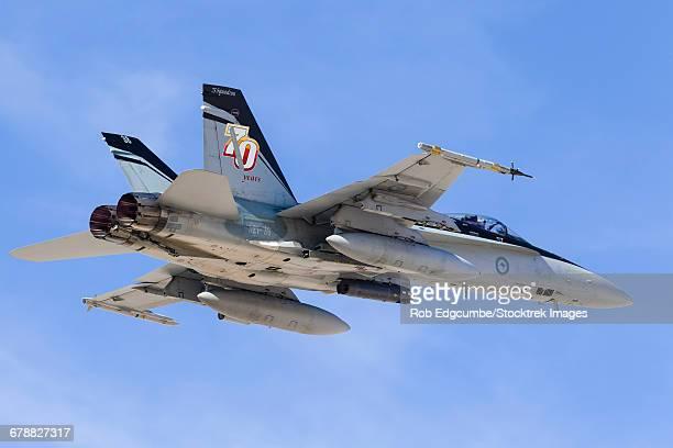 a royal australian air force f/a-18a hornet taking off. - オーストラリア空軍 ストックフォトと画像