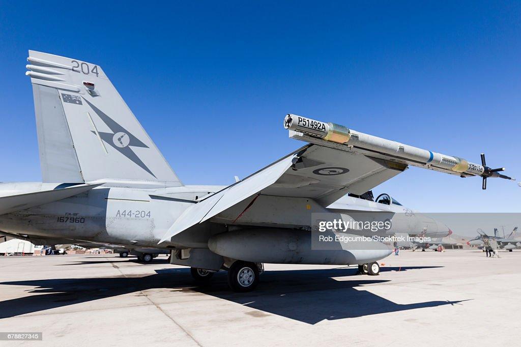 A Royal Australian Air Force F/A-18F Super Hornet awaits its next mission. : ストックフォト