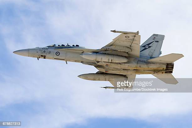 a royal australian air force f/a-18f super hornet taking off. - オーストラリア空軍 ストックフォトと画像