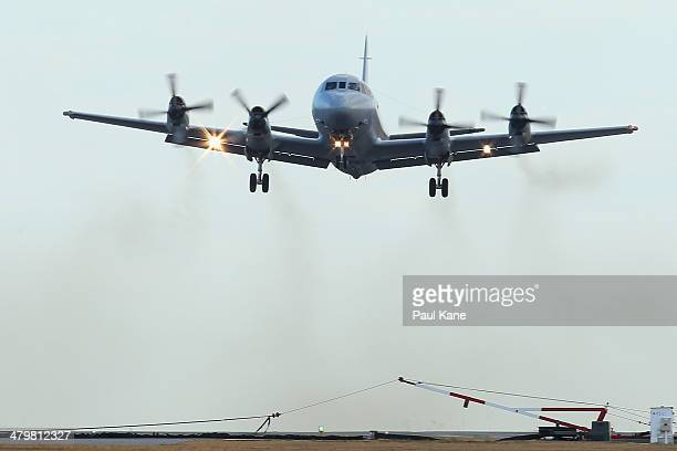 Royal Australian Air Force P3 Orion takes off from Pearce air base to recommence a search for possible debris on March 21 2014 in Perth Australia...