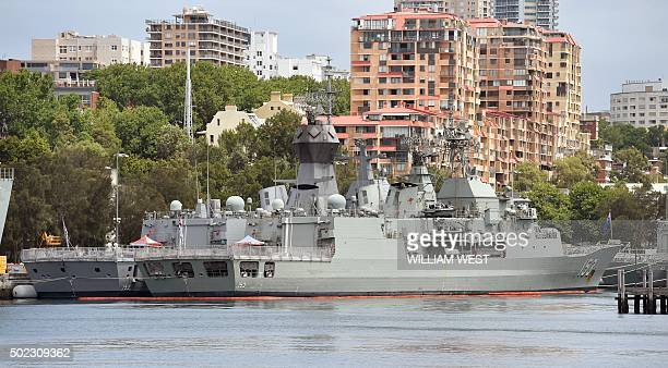 Royal Australian Navy Anzac-class frigates, the HMAS Stuart , at right, and the HMAS Warramunga , at left, are seen moored at Sydney's Garden Island...