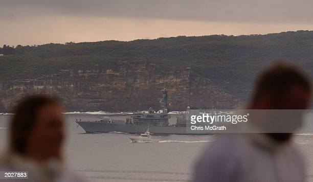Royal Australian Navy personel watch on as The Royal Navy HMS Marlborough passes through Sydney heads after arriving from service in Iraqi May 25,...