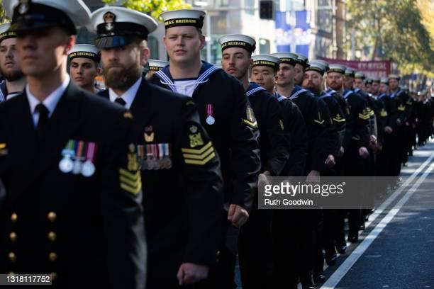 Royal Australian Navy personnel from HMAS Brisbane march in the Anzac Day Parade through Sydney CBD, on April 25, 2021 in Sydney, Australia. Anzac...