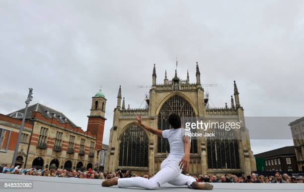 Royal Ballet dancer Francisco Serrano performs 'Take Flight' along with 100 local dancers in front of the recently designated Hull Minster on...