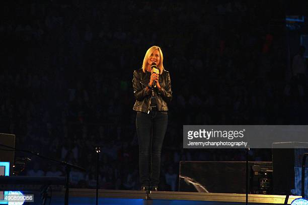 Royal Bank of Canada Regional President Kim Mason speaks during WE Day Toronto at the Air Canada Centre on October 1 2015 in Toronto Canada