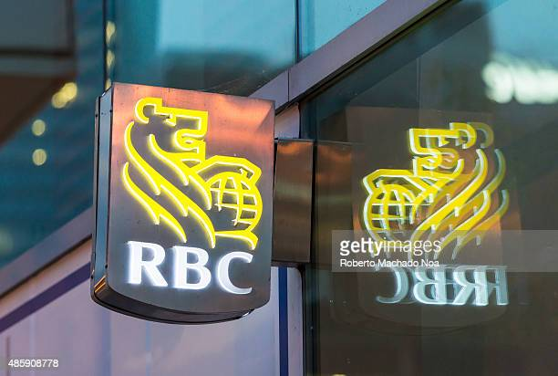 WEST TORONTO ONTARIO CANADA Royal Bank of Canada signage fixed to a wall with its reflection falling on the glass covered wall The signage has the...