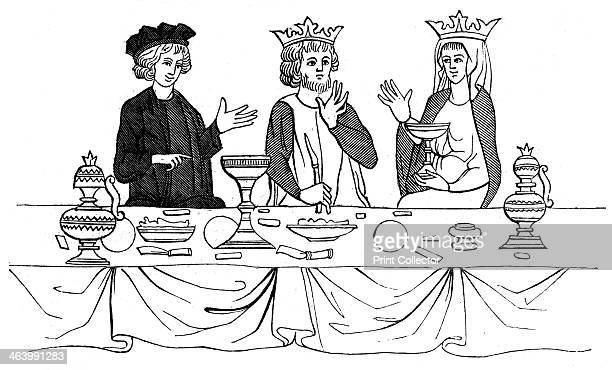 A royal banquet 13th century A 19th century version based on an original 13th century manuscript illustration in 'l'Histoire de St Graal held by...