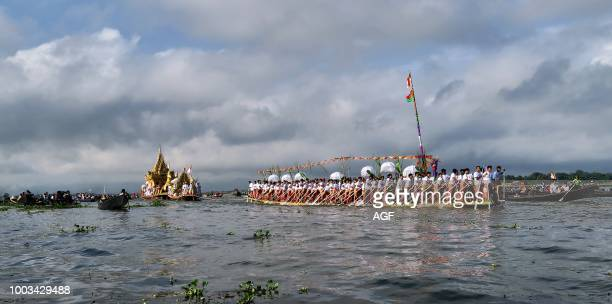 Royal barge on which four Buddha images are are carried. Is towed during the Phaung-daw-oo Pagoda Festival in Inle Lake in Shan State. Eastern...