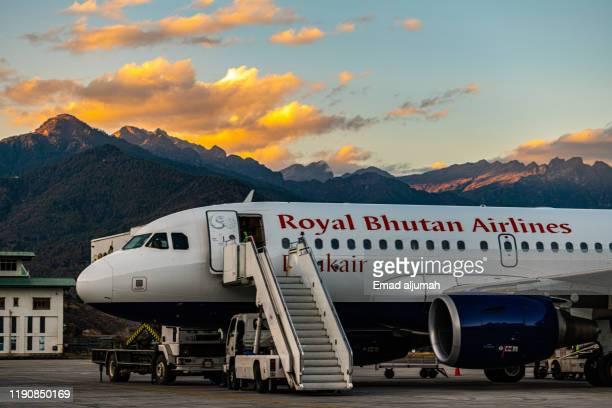 royal bhutan airline, paro, bhutan - paro district stock pictures, royalty-free photos & images