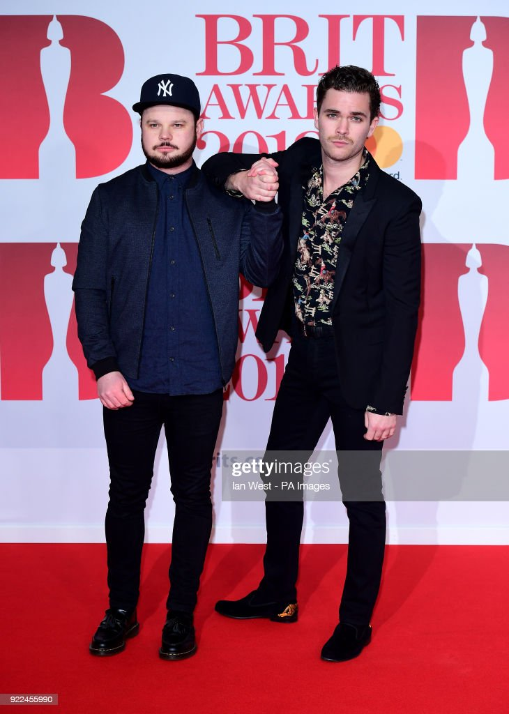 Royal Bloodâs Mike Kerr and Ben Thatcher attending the Brit Awards at the O2 Arena, London