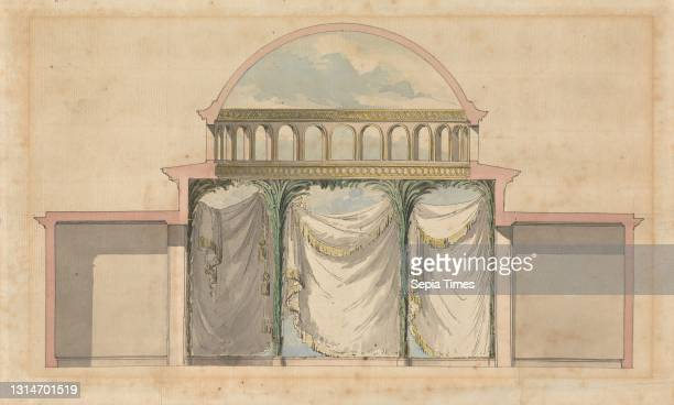 Royal Botanic Gardens, Kew: Design for Interior of a Mosque, Sir William Chambers RA, 1723–1796, British, ca. 1761, Pen and black ink, watercolor and...