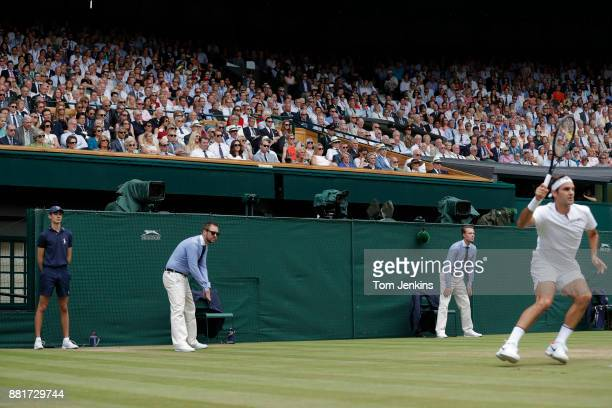 Royal Box packed with high level dignitaries watches Roger Federer in the men's singles final v Marin Cilic on Centre Court on day thirteen of the...