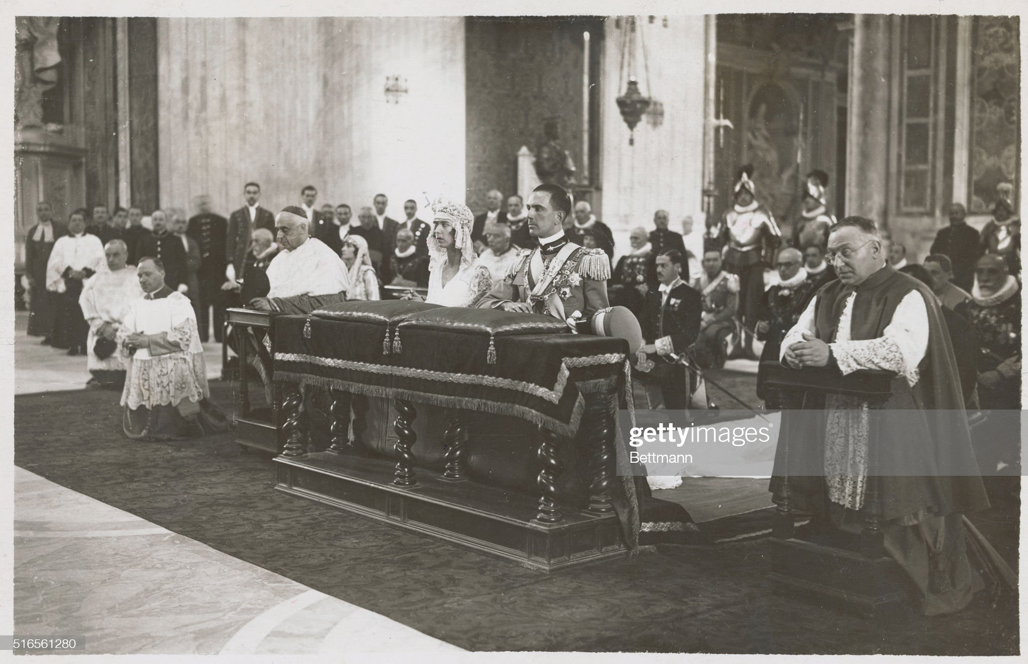 royal-bride-and-groom-at-the-altar-during-their-wedding-rome-italy-picture-id516561280