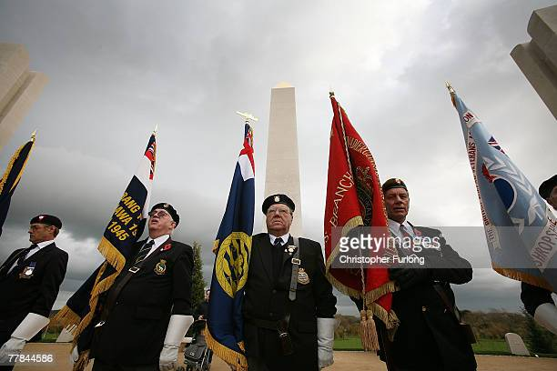 Royal British Legion standard bearers take part in the Remembrance Day Service at the Armed Forces Memorial at The National Arboretum on 11 November...