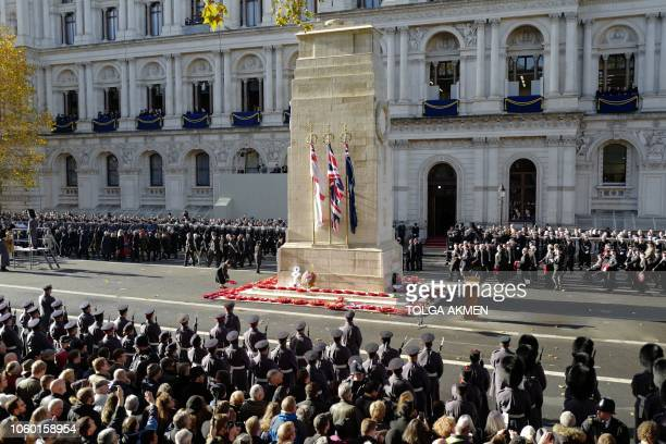 Royal British Legion's Veterans' March past the cenotaph after the Remembrance Sunday ceremony at the Cenotaph on Whitehall in central London on...