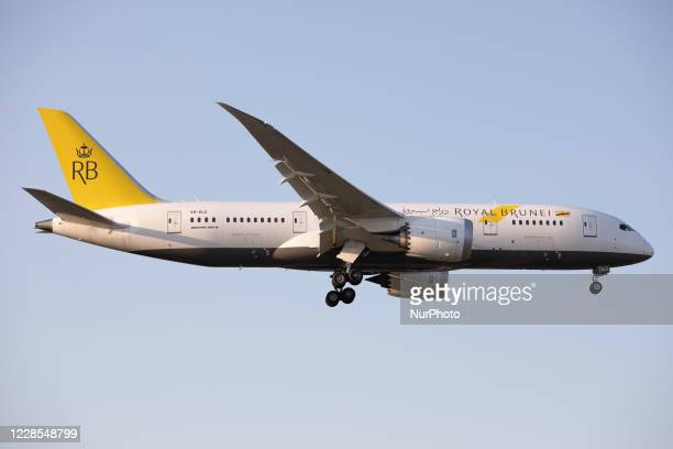 Royal Brunei Airlines Boeing 787 lands at London Heathrow Airport, England on Monday 14th September 2020.