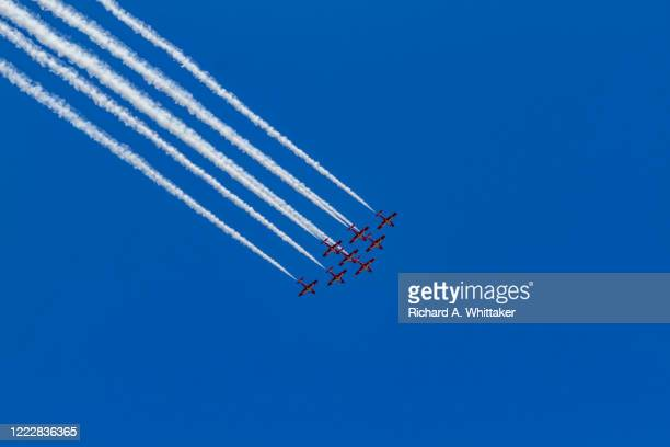 royal canadian air force snowbirds in formation - canadian snowbird stock pictures, royalty-free photos & images