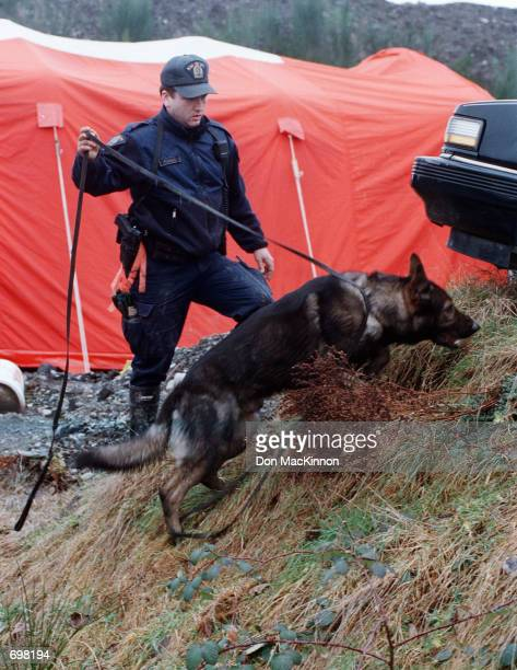 Royal Canadian Mounted Police dog master and dog search for evidence February 9 2002 in Port Coquitlam British Colombia Canada The RCMP and Vancouver...