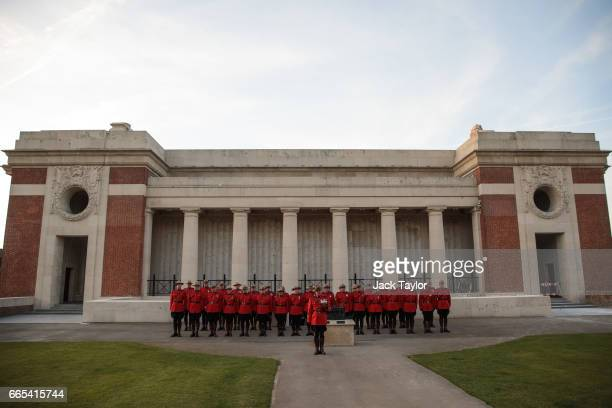 Royal Canadian Mounted Police parade following the Last Post ceremony in front of the Menin Gate Memorial to the Missing on April 6 2017 in Ypres...
