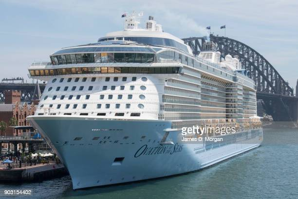 Royal Caribbean Cruise line's Ovation of the Seas on Dec 29 2017 in Sydney Australia The cruise ship is based in the southern summer season city of...