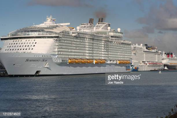 Royal Caribbean Symphony of the Seas Cruise ship which is the world's largest passenger liner is seen docked at PortMiami after returning to port...