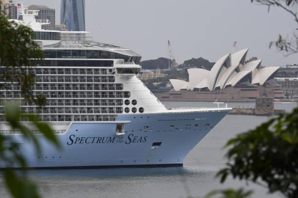 AUS: Spectrum Of The Seas Cruise Ship Arrives In Sydney Harbour During Coronavirus Crisis