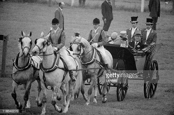 Royal carriage at Royal Ascot The Queen and The Duke of Edinburgh processing down the racecourse Berkshire 21st June 1973