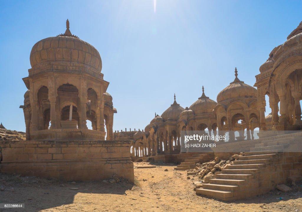 Royal Cenotaphs at Bada Bagh   Jaisalmer   Rajasthan   India : Stock Photo