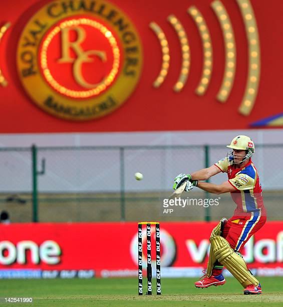 Royal Challengers Bangalore batsman A B DeVilliers hits a six during the IPL Twenty20 cricket match between Royal Challengers Bangalore and Delhi...