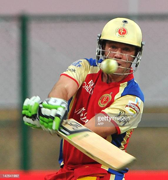 Royal Challengers Bangalore batsman A B DeVilliers hits a six during the IPL Twenty20 cricket match between Royal Challengers Bangalore and Delhi...