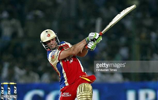 Royal Challengers Bangalore batsman AB de Villiers plays a shot during the IPL 5 T20 cricket match played between Rajasthan Royals and Kings XI...