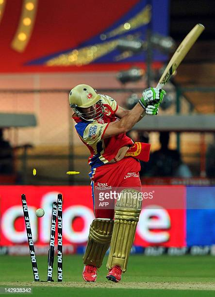 Royal Challengers Bangalore batsman AB DeVilliers looses his wicket to Rajasthan Royals bowler Siddharth Trivedi during the IPL Twenty20 cricket...