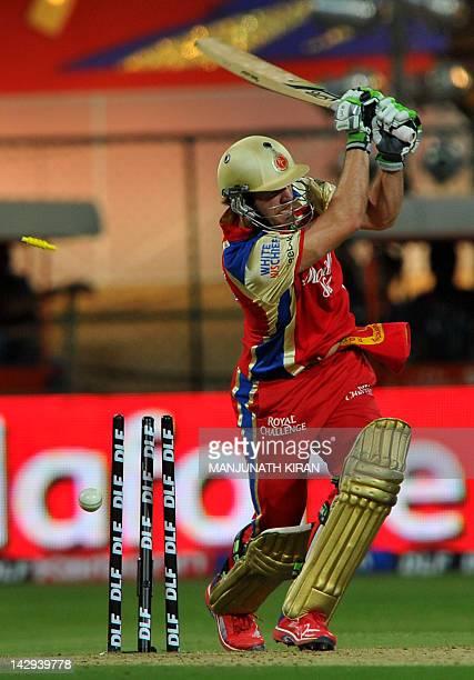 Royal Challengers Bangalore batsman AB DeVilliers looses his wicket to Rajasthan Royals bowler Siddharth Trivedi during the IPL Twenty20 cricket...