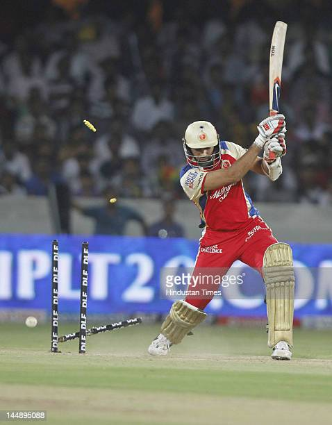 Royal Challengers Bangalore batsman Zaheer Khan got bold by Deccan Chargers bowler Dale Steyn during IPL 5 T20 match played between Deccan Chargers...