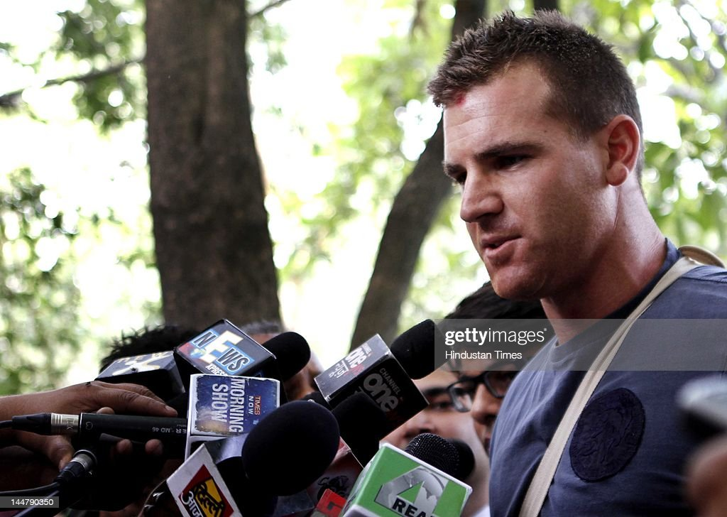 Royal Challengers Bangalore player Luke Pomersbach talks to the media outside the Patiala court after he was granted bail on May 19, 2012 in New Delhi. He was arrested for allegedly molesting an American woman in a five-star hotel here and beating up her fiance after a post-match party.