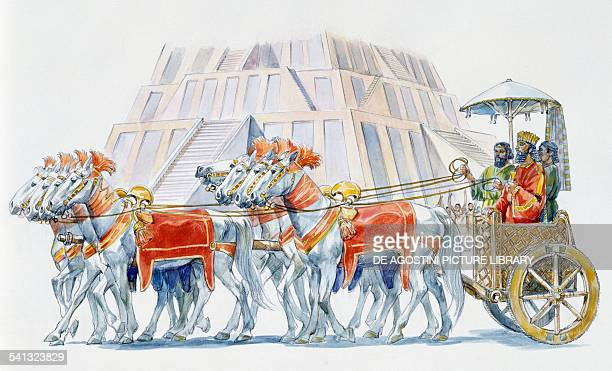 Royal chariot with a Babylonian Ziggurat in the background drawing Babylonian civilisation III millennium BC