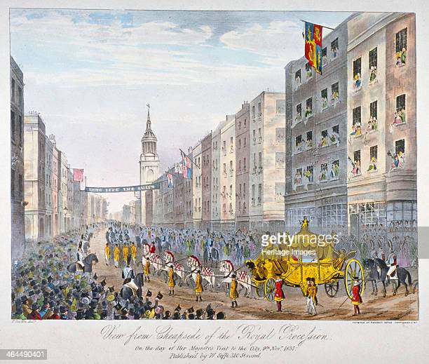 Royal coach on Cheapside City of London 1837 View from Cheapside of the royal procession on the day of Queen Victoria's visit to the City November...