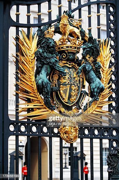 Royal Coat of Arms gate to Buckingham Palace London England United Kingdom