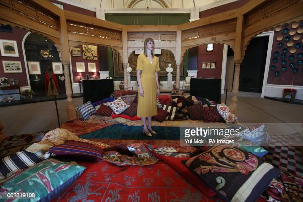 A Royal Collection Trust employee in a pavilion by Nasser Mansouri during a preview of the Prince amp Patron exhibition in the Ball Supper Room at...