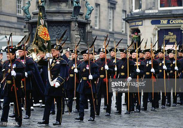 Royal Company of Archers at a Service of Knights of the Thistle St Giles's Cathedral Edinburgh UK