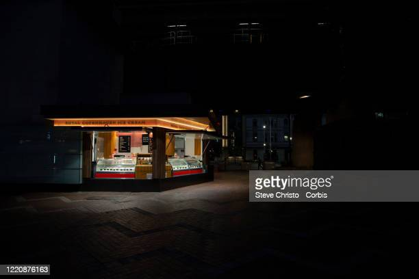 Royal Copenhagen ice-cream store open for business but has no patrons on March 26, 2020 in Sydney, Australia. Further restrictions on travel and...