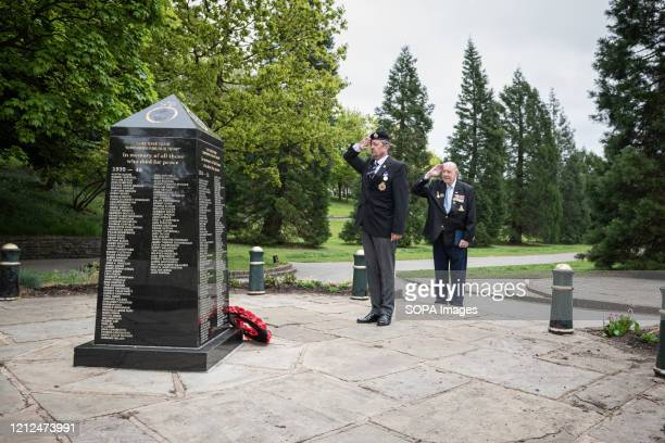 Royal Corps of Transport Driver Carl Holly stands with a 95yr old DDay veteran Lance Bombardier Roy Smith Royal Artillery during the commemoration...