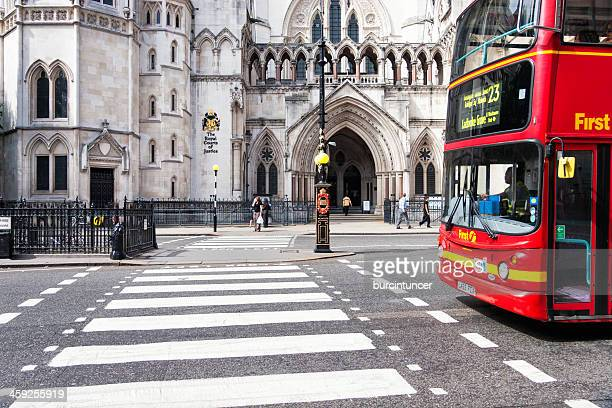 royal courts of justice, london - zebra crossing stock pictures, royalty-free photos & images